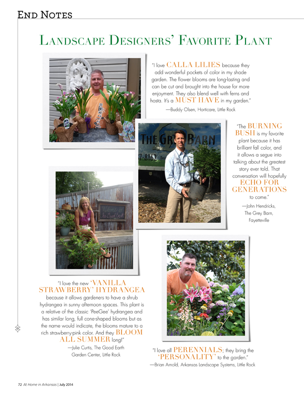 At Home in Arkansas | July 2014 | End Notes: Landscape Designers' Favorite Plant