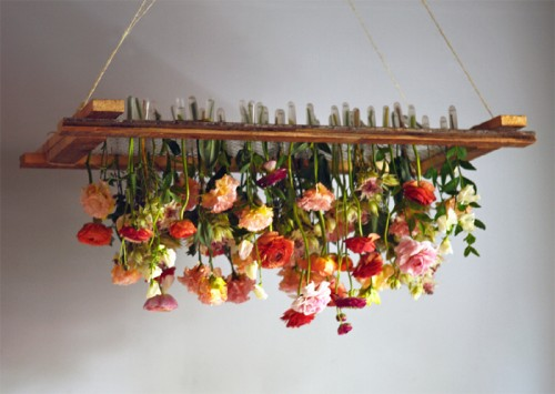 "From Design Sponge ""DIY Project: Hanging Floral Chandelier"""
