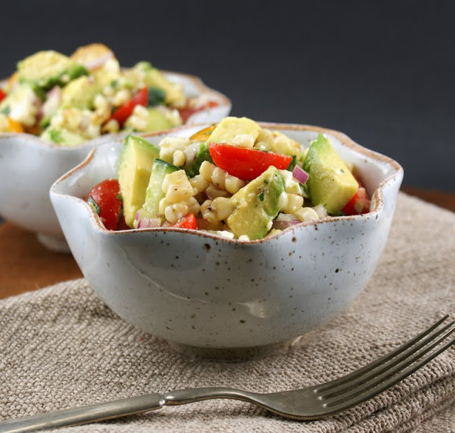 Avocado and Grilled Corn Salad with Cilantro Vinaigrette from Authentic Suburban Gourmet