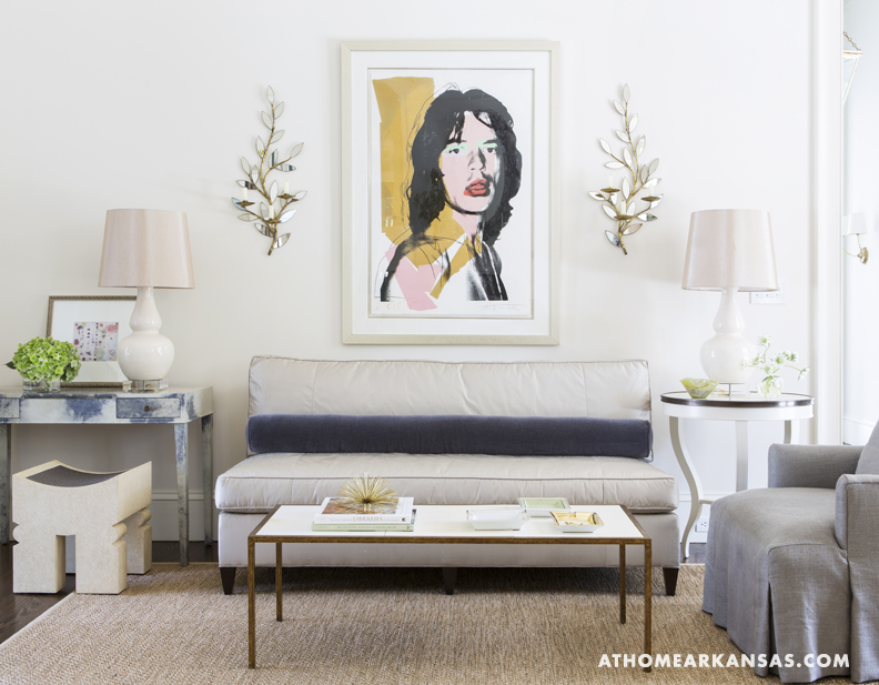 A mix of classic sensibilities and contemporary accessories in Melissa Haynes's Fayetteville home. We love this Mick Jagger print!