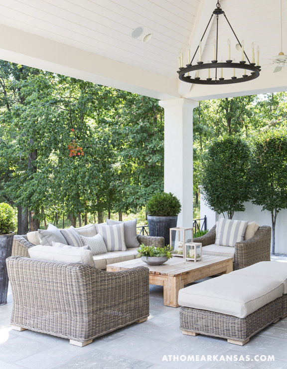 Outdoor seating area at Melissa Haynes's classic-meets-contemporary home in Fayetteville, Arkansas.