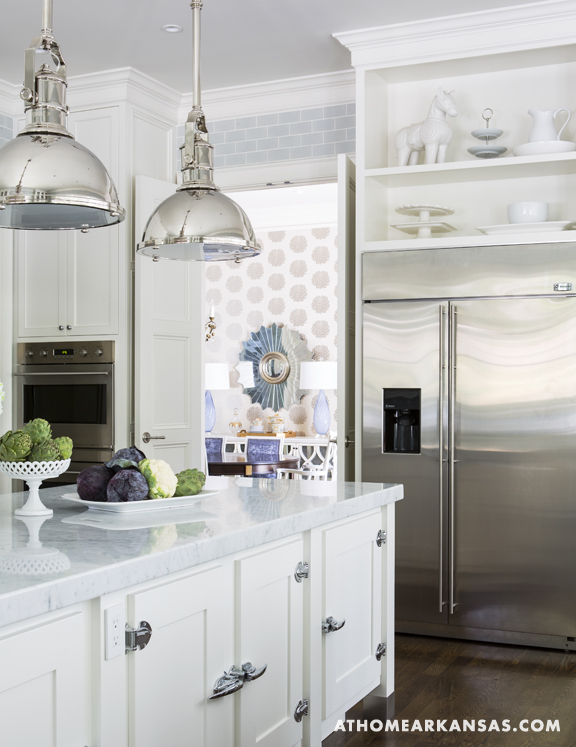A classic yet timeless light-blue kitchen by Melissa Haynes in Fayetteville, Arkansas