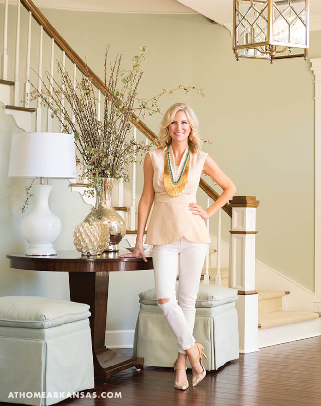 Emily Brown in her home's foyer. |Fashionable & Functional | At Home in Arkansas | May 2016