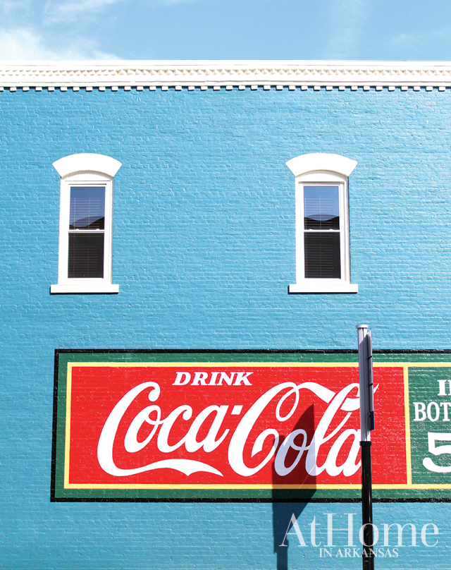 The Coca-Cola mural on Bentonville City Square's Tate & Haney Building is a 2016 re-creation of a similar ad once found there. This spot is one of the many photo ops along the Razorback Regional Greenway, a 36-mile shared-use trail stretching from Fayetteville to Lake Bella Vista.