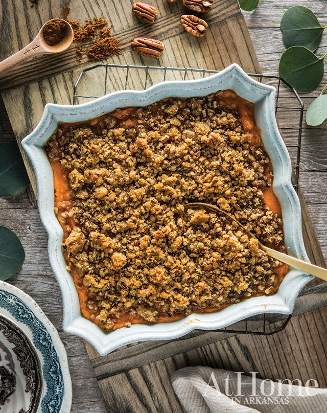 """SWEET POTATO SOUFFLE WITH BUTTERY PRALINE TOPPING """"This sweet, buttery potato souffle is easily something we all look forward to each season,"""" Hannon says. """"My sister-in-law Lori introduced this dish to me, and we count on her to make it every year. It's practically dessert. Gosh, it's good."""""""