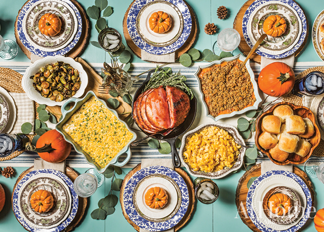 """MIX NOT MATCH: Use what you have to set the table, and don't be afraid to combine different place settings, colors, and pieces. """"The collected look keeps you from fretting over not having 16 matching plates. Just mix in other patterns and sizes, and have fun with it,"""" Hannon says."""