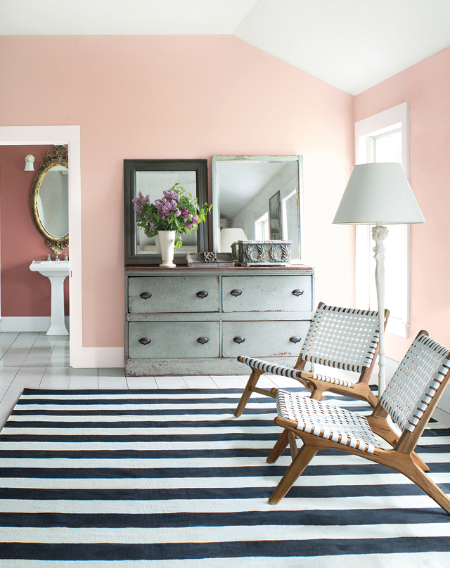 """The Benjamin Moore Color of the Year 2018 is Caliente, a vibrant, charismatic shade of red. The Benjamin Moore Color Trends 2018 palette features 23 colors that range from hues in the red family, with a nod to the very popular pinks we've noted with Pleasant Pink, to deep reds such as Cranberry Cocktail."" — Andrea Magno, Benjamin Moor Color & Design Expert"