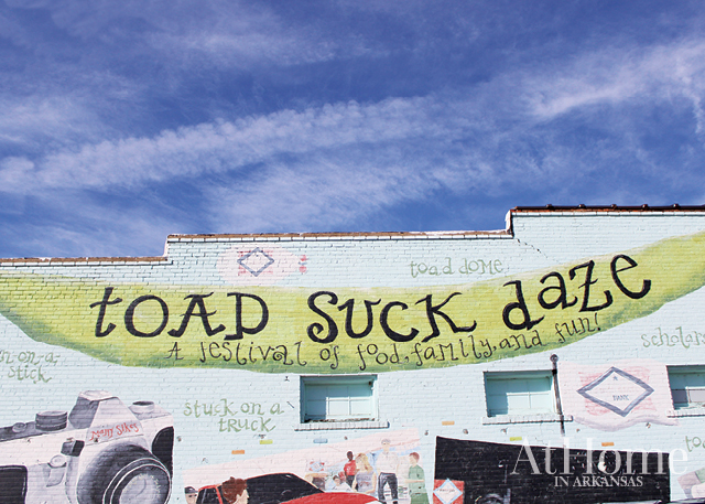 Toad Suck Daze mural in downtown Conway, Arkansas