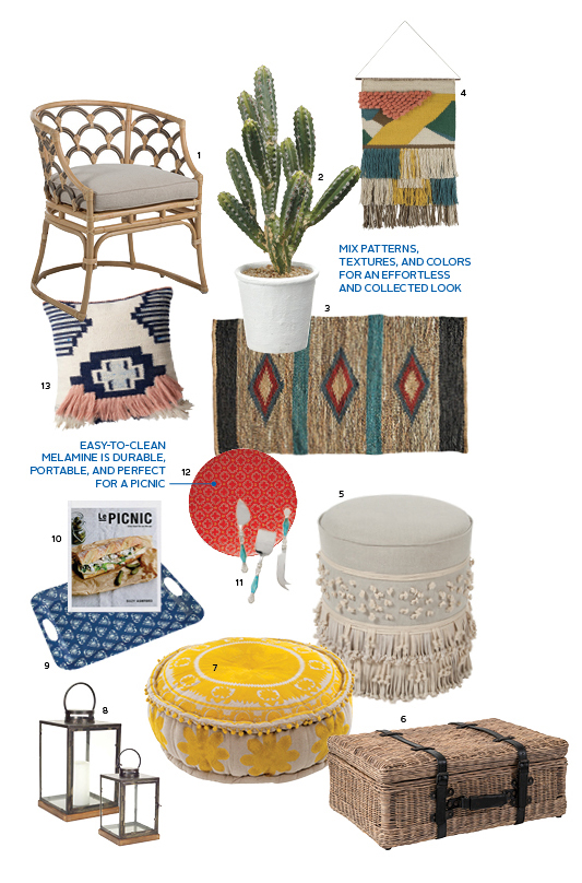 boho picnic, outdoor furniture, backyard style