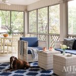Screened-in porch in classic blues and whites in Little Rock, Arkansas