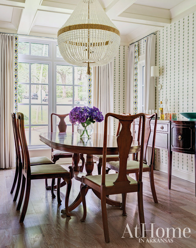 This dining room by Chandler Bailey combines antique collections with modern finishings.
