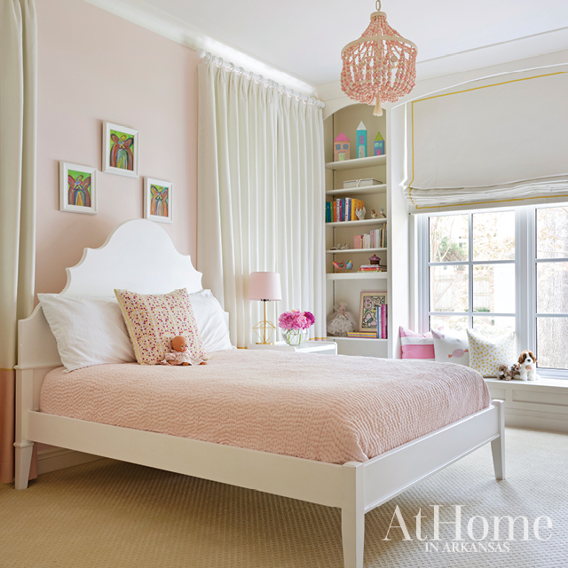 Little girl's room with fun beaded Pottery Barn light fixture