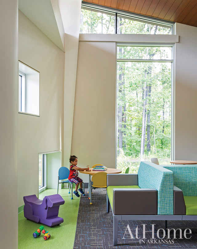 Child-height windows at the Arkansas Children's Hospital clinic give little ones a view of the outdoors while allowing additional natural light into the room.