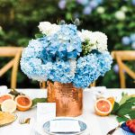 Fresh hydrangeas were clipped from nearby bushes for easy-to-assemble, no-cost arrangements.